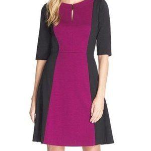 NWT Sz 2 Currant / Black Colorblock Dress